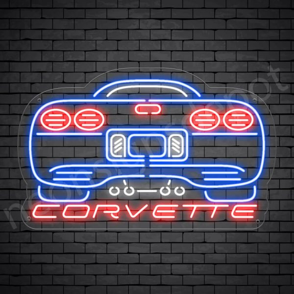 Corvette Rear Neon Sign - Transparent