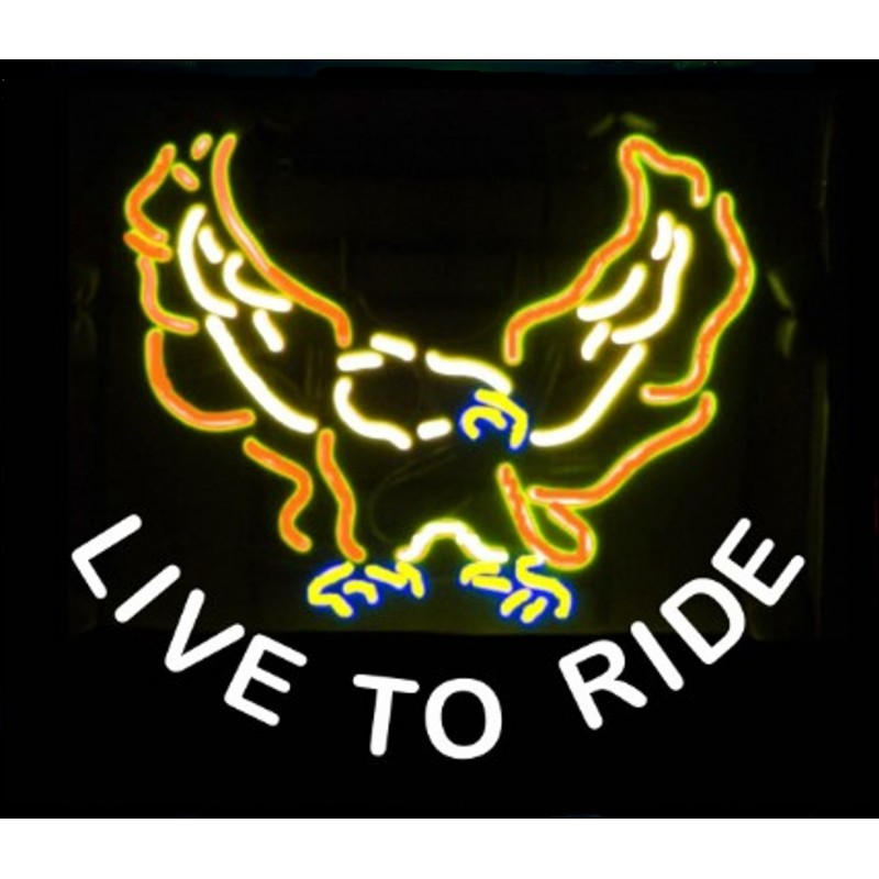 Live To Ride Eagle Neon Bar Sign - Neon Signs Depot