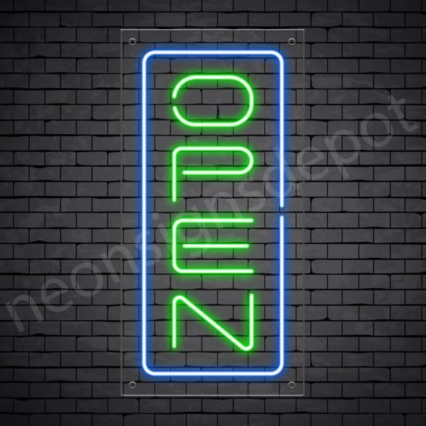Vertical neon open sign green-blue transparent bg
