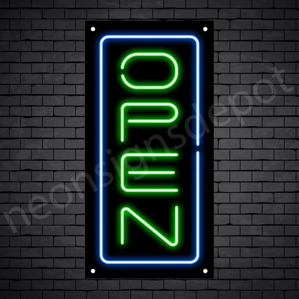 Vertical neon open sign green-blue black bg