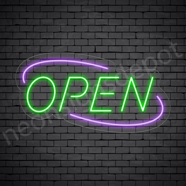 Deco Open Neon Sign Green Purple