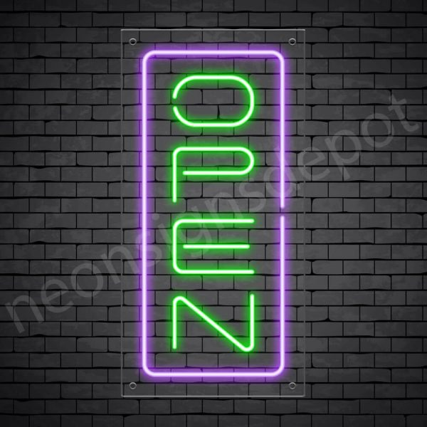 Vertical neon open sign green-purple transparent bg