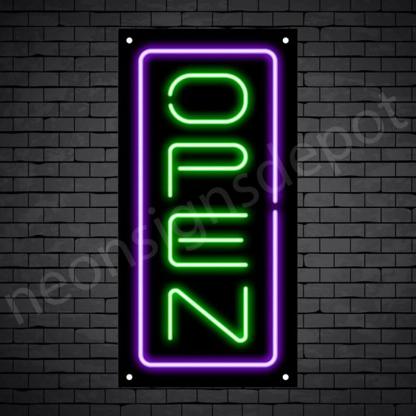 Vertical neon open sign green-purple black bg