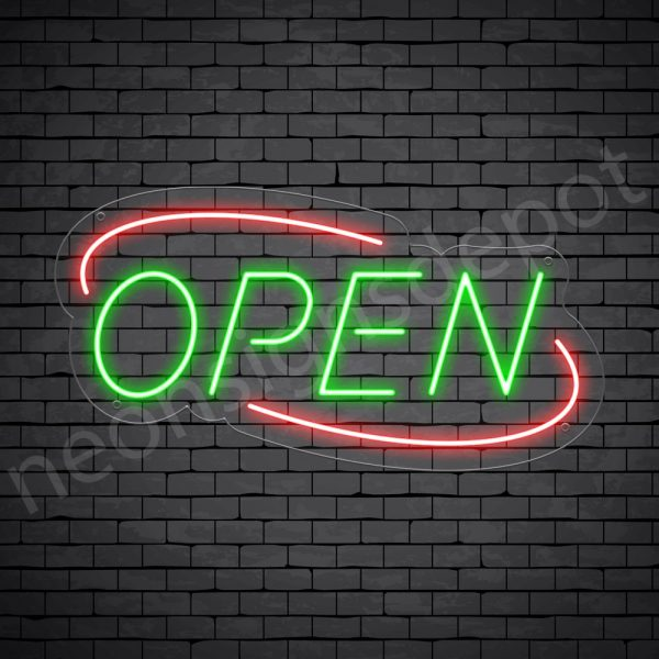 Deco Open Neon Sign Green Red
