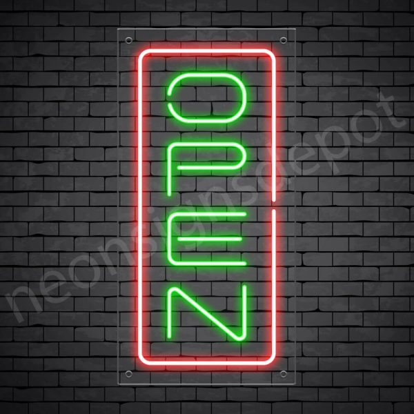 Vertical neon open sign green-red transparent bg