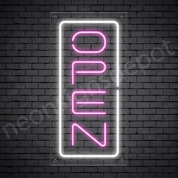 Vertical neon open sign pink-white transparent bg