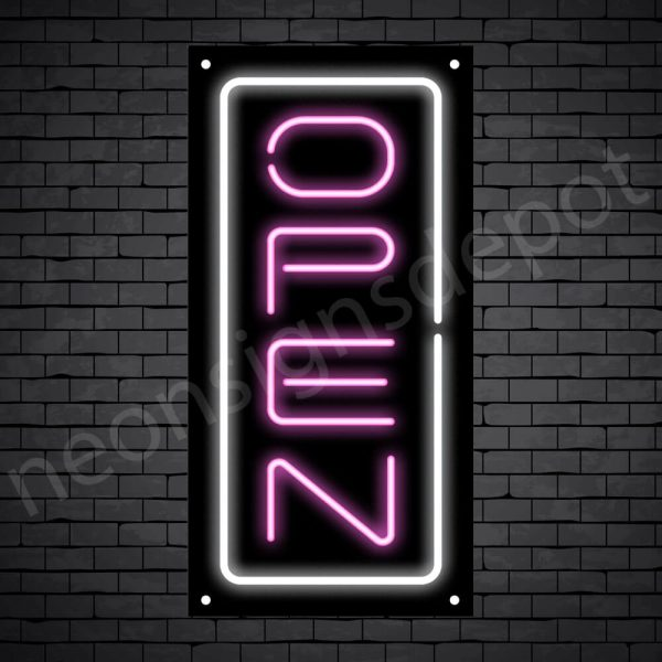 Vertical neon open sign pink-white black bg
