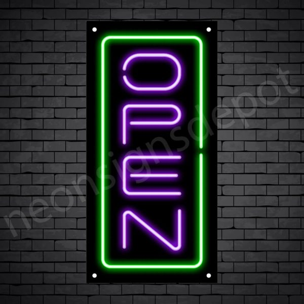 Vertical neon open sign purple-green black bg