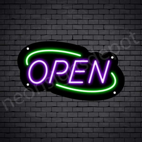 Deco open neon sign purple green