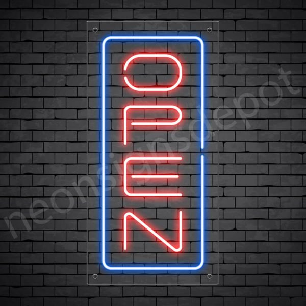 Vertical neon open sign red-blue transparent bg