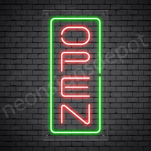 Vertical neon open sign gred-green transparent bg