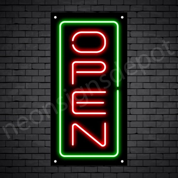 Vertical neon open sign gred-green black bg