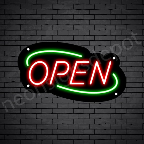 Deco Open Neon Sign Red Green