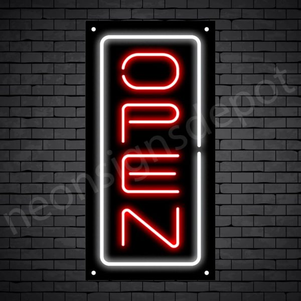 Vertical neon open sign red-white black bg