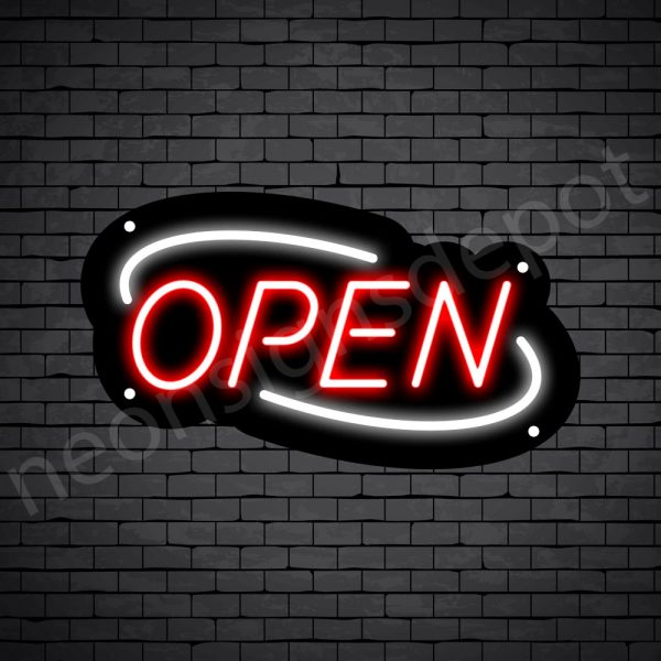 Deco Open Neon Sign Red White