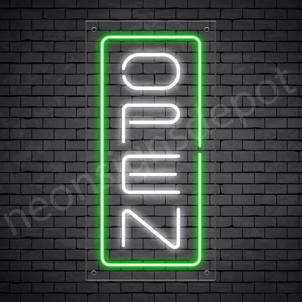 Vertical neon open sign white-green transparent bg