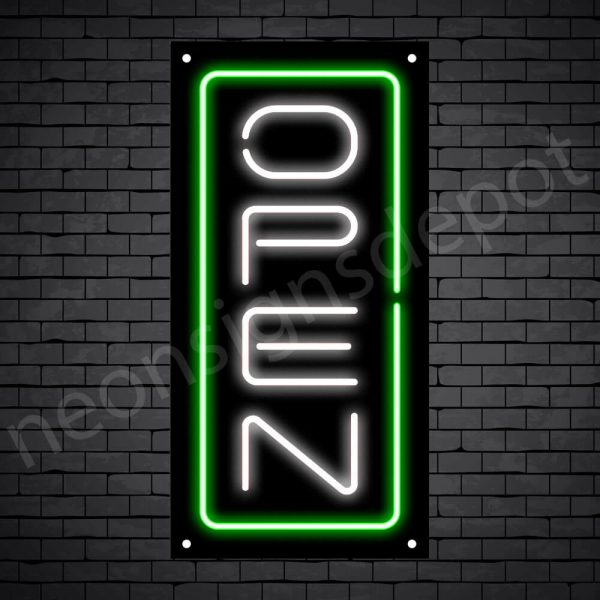 Vertical neon open sign white-green black bg