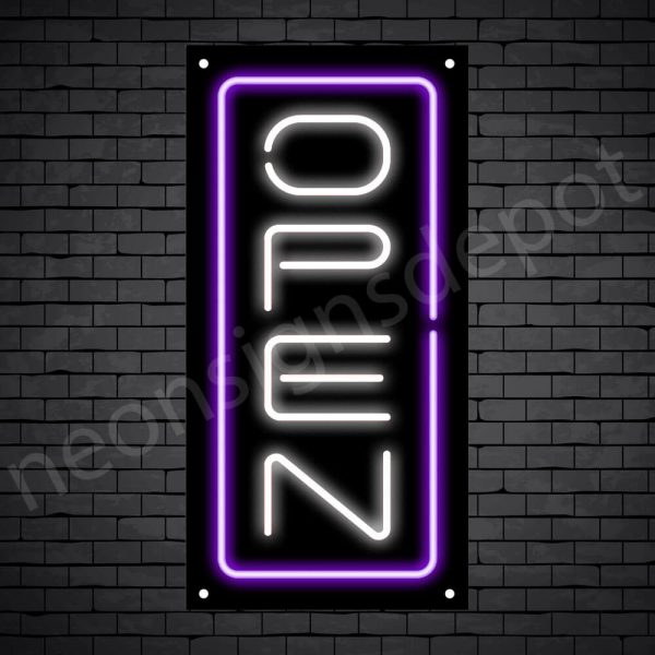 Vertical neon open sign white-purple black bg