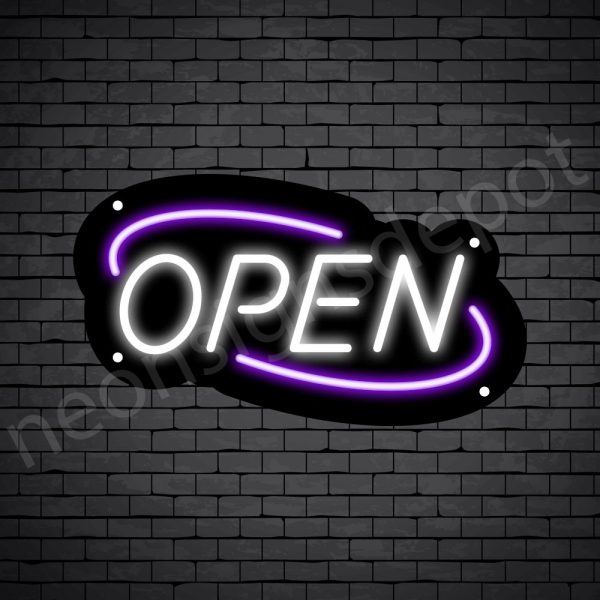 Deco Open Neon Sign White Green