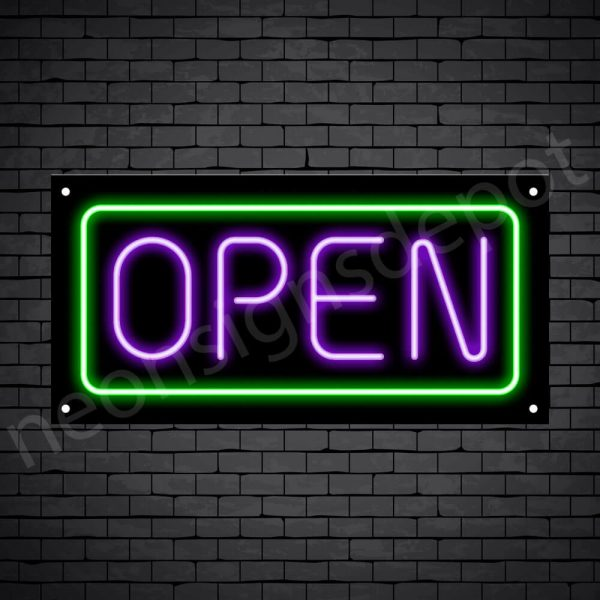 horizontal open neon sign -black back PURPLE,GREEN