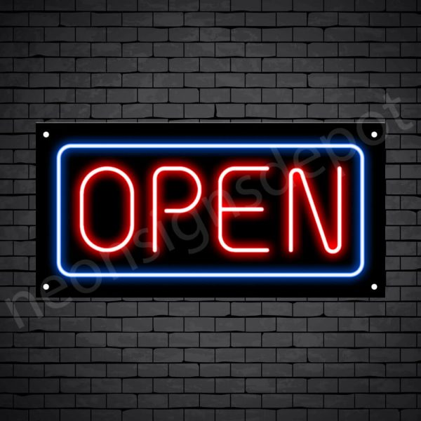 horizontal open neon sign -black back RED,BLUE