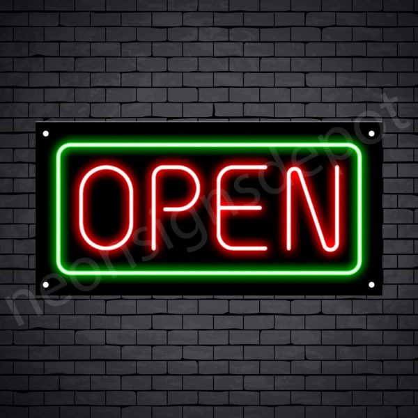 horizontal open neon sign -black back RED,GREEN