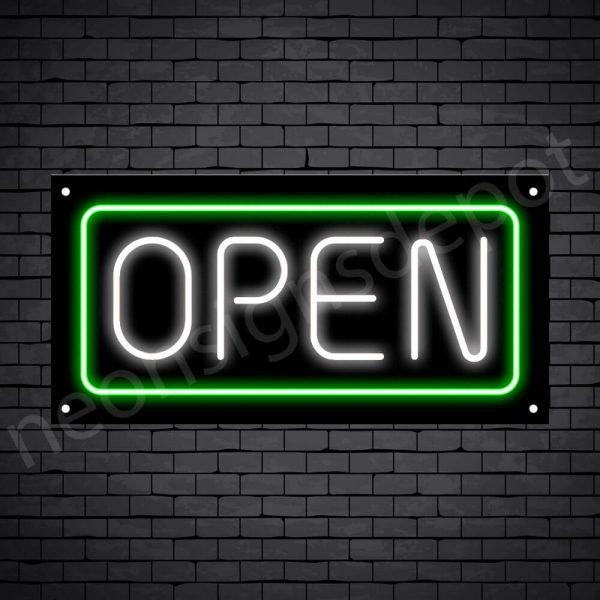 horizontal open neon sign -black back WHITE,GREEN