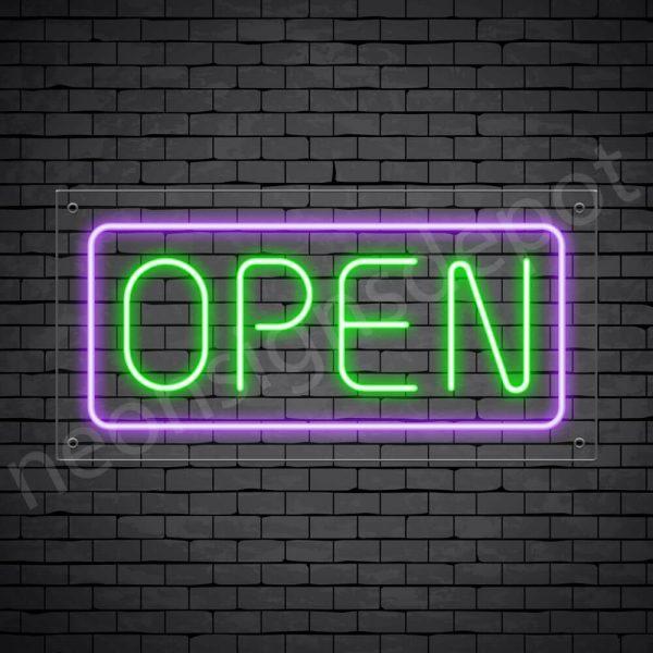 horizontal open neon sign - transparent back GREEN,PURPLE--