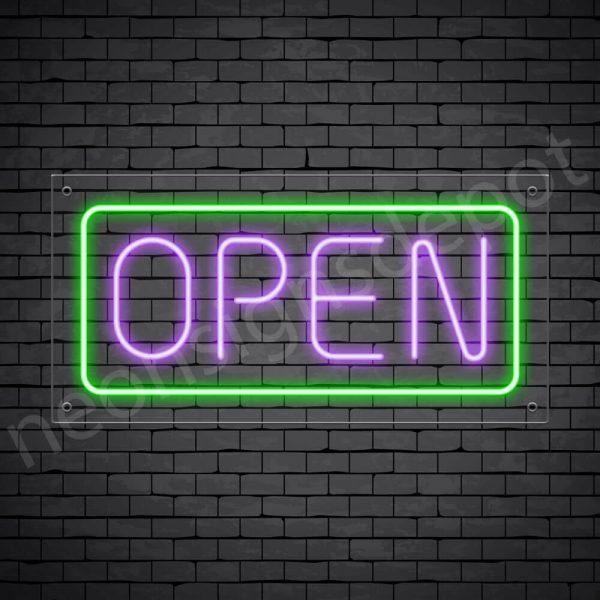 horizontal open neon sign - transparent back PURPLE,GREEN--
