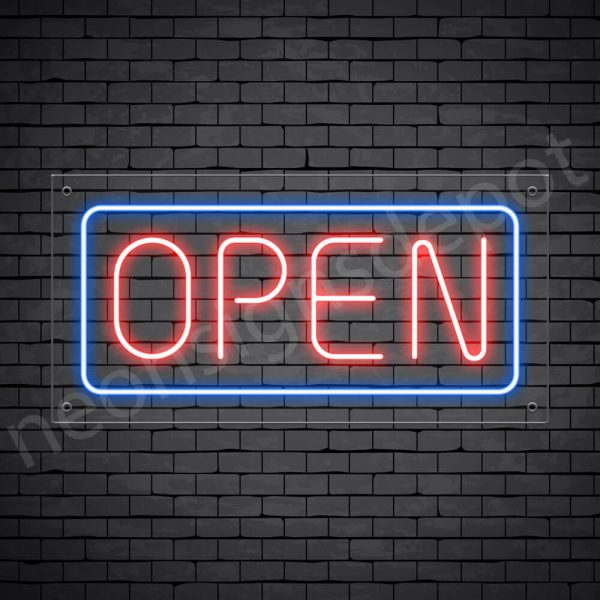 horizontal open neon sign - transparent back RED,BLUE--