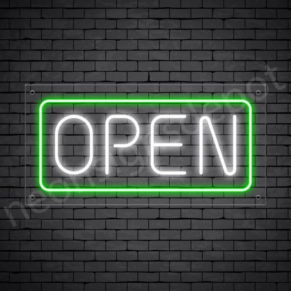 horizontal open neon sign - transparent back WHITE,GREEN--