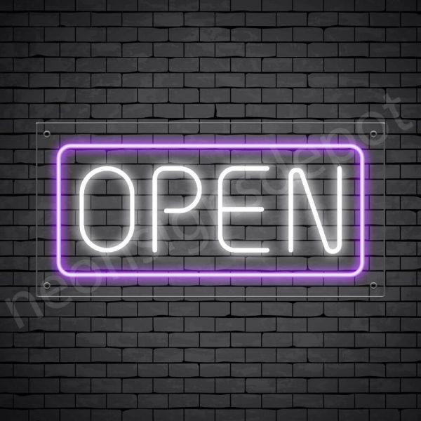 horizontal open neon sign - transparent back WHITE,PURPLE--