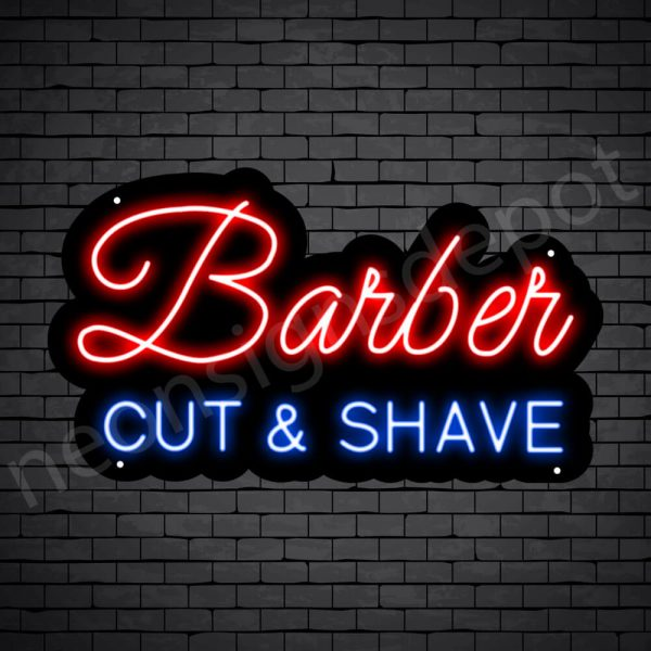 Barber Neon Sign Barber Cut&Shave Black - 24x14