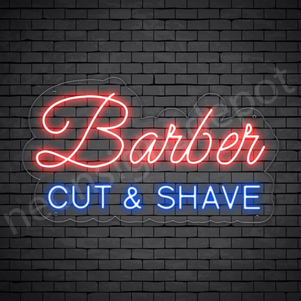 Barber Neon Sign Barber Cut&Shave Transparent - 24x14