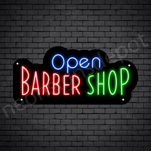 Barber Neon Sign Open Barber Shop Black - 24x11