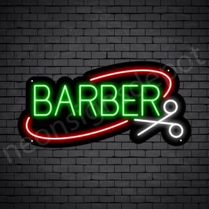 Barber Neon Sign Barber Scissor - black