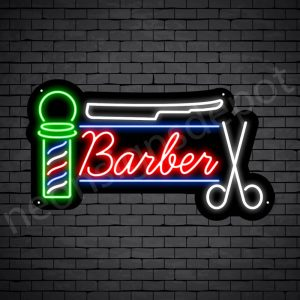 Barber Neon Sign Barber Tools Black - 24x14