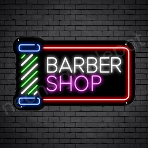 Barber Neon Sign Barber Shop Cut & Shave Open Black - 24x14