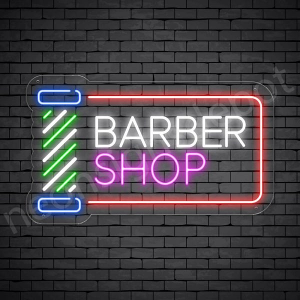 Barber Neon Sign Barber Shop Cut & Shave Open Transparent - 24x14