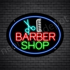Barber Neon Sign Barbershop Scissor and Comb - Black