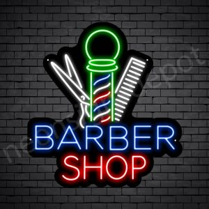 Barber Neon Sign Barbershop Tools - black