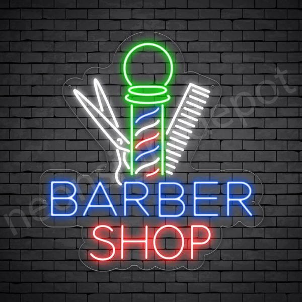 Barber Neon Sign Barber Shop Tools - Transparent