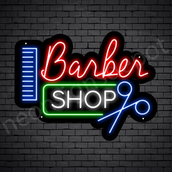 Barber Neon Sign Barbershop Cut and Comb Black - 24x18