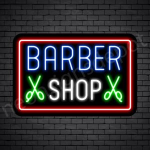 Barber Neon Sign Barbershop Double Scissor - Black