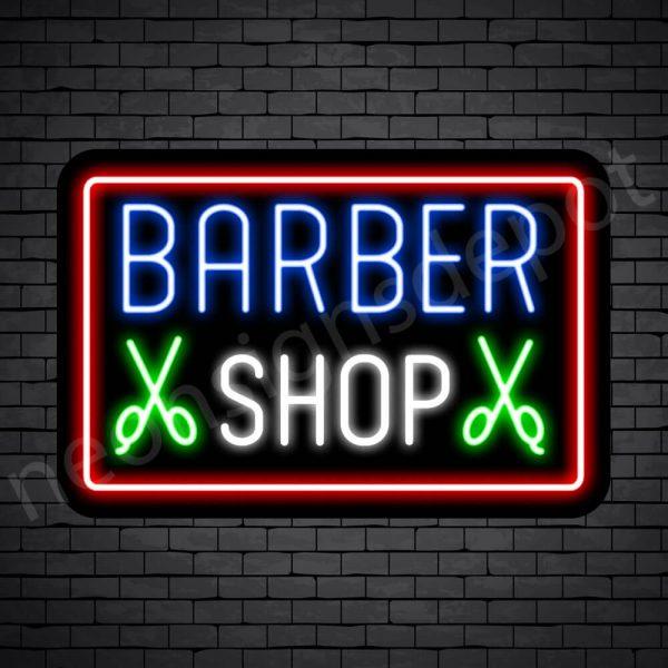 Barber Neon Sign Barbershop Double Scissor - Black