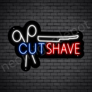 Barber Neon Sign Barbers Cut & Shave - Black