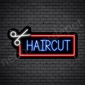 Barber Neon Sign Haircut Black - 24x11
