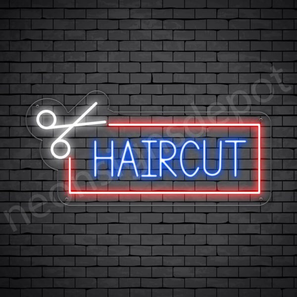 Barber Neon Sign Open Haircut Transparent - 24x11