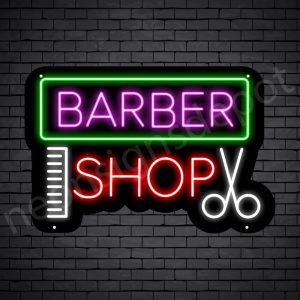 Barber Neon Sign Barbers Shop Black - 24x16