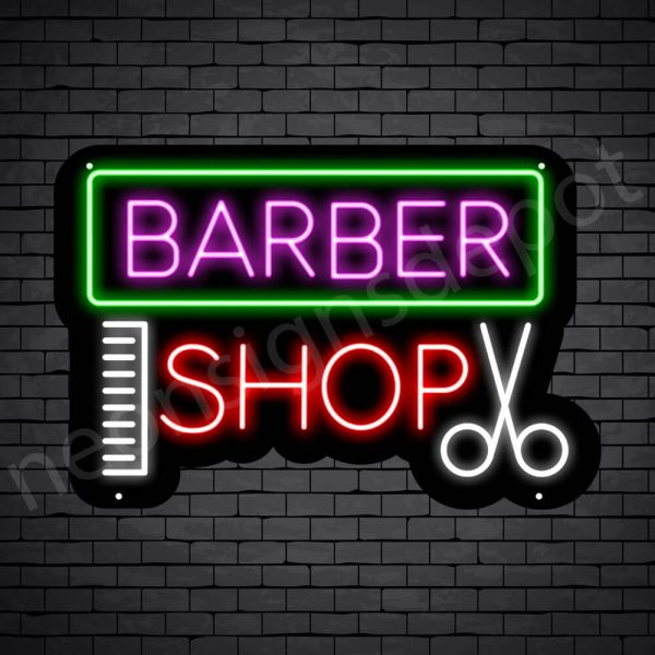 Barber Neon Sign Barbers Shop Black - 24x16